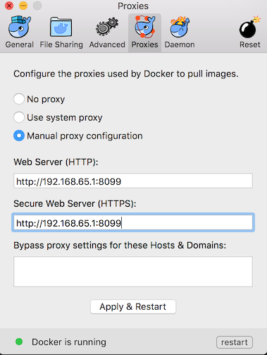 Docker for Mac Proxy Settings
